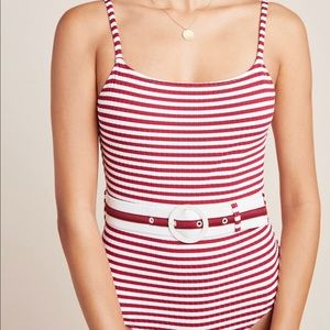 Anthropologie Solid Striped Nina Belted One Piece
